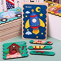 CHOUREN Children's Wooden Creative Bar Puzzle Double-sided Puzzle Traffic Animal Story Puzzle Puzzle Toy Intelligence…