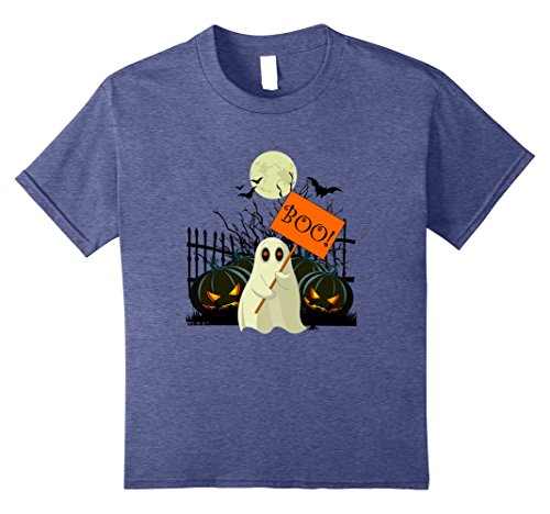 Kids Boo! Halloween Costume T-Shirt 10 Heather Blue - Cute Halloween Comments