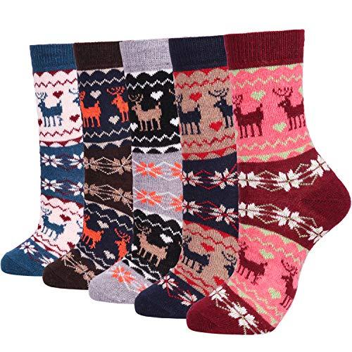 Womens Lightweight Soft Knit Wool Cozy Crew Socks Ladies Cute Comfy Casual Sock Christmas Gift