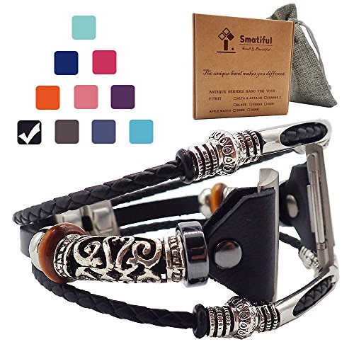Smatiful Ionic Fancy Bands (Small Mediume Large XL are All Ok) with Stainless Steel Clasp and Gunmetal Parts for Women, Adjustable Replacement Leather Watch Band for Fitbit Ionic, Classic Black