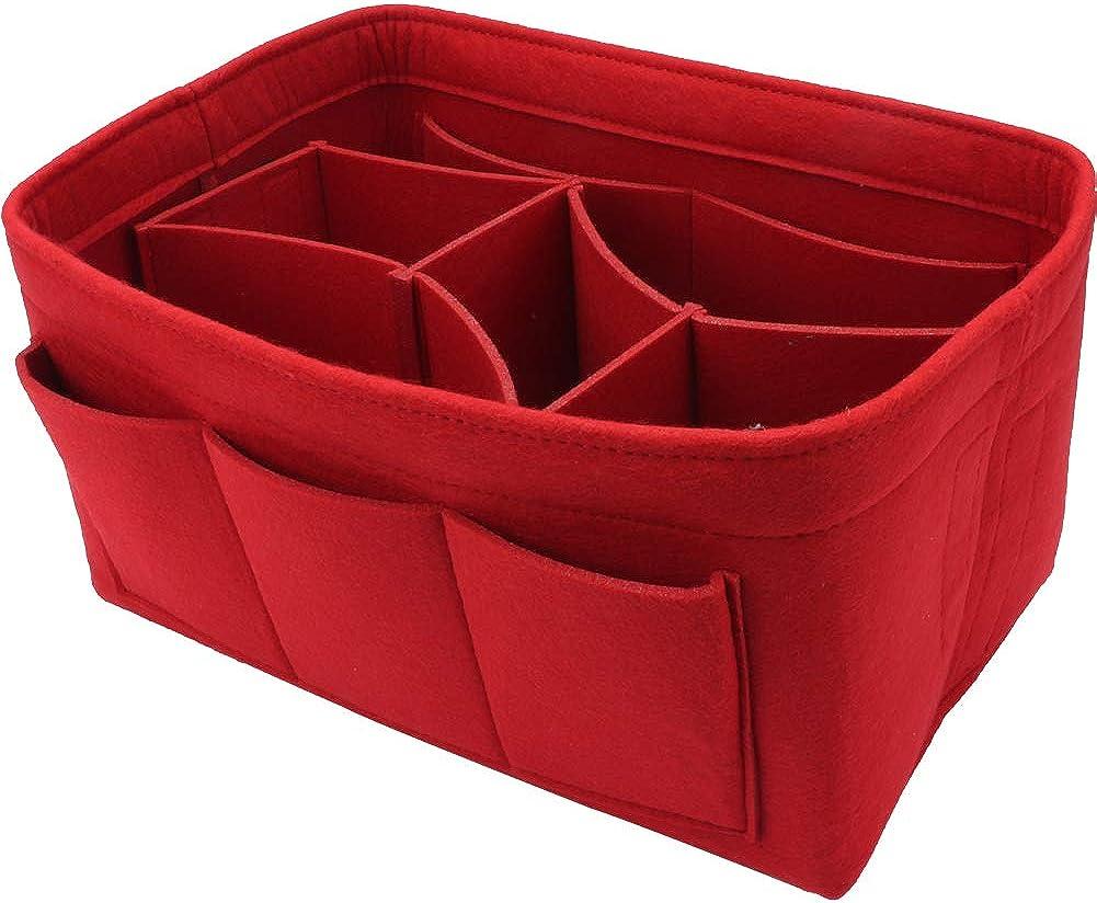 VECH Felt Purse Organizer, Multi Pocket Bag in Bag Organizer for Handbag & Tote Shaper, Tote Felt Insert Bag Organizer for Speedy Neverfull Longchamp Gracefull, 2 Sizes 2 Colors