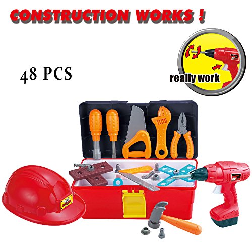 GAMZOO Construction Tool Box Playset with Hard Hat and 40+ Pcs Pretend Play Tools and Accessories Toy Set for Kids 3 Years and (Ratchet Costume)
