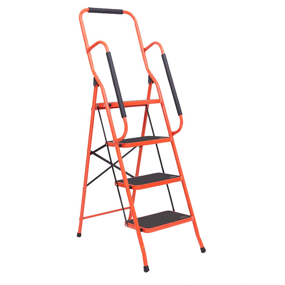 LUISLADDERS 4 Step Ladder Folding Portable Tool Ladder Safety Padded Handrails with Detachable Tool Bag Large Area Pedals Suitable Kitchen and Home (330lbs)
