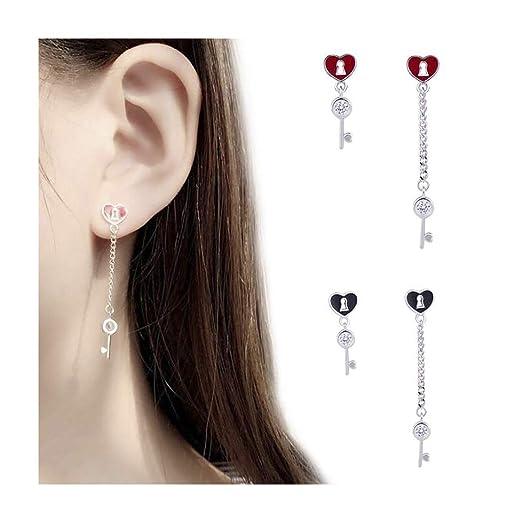 9b867a897 Amazon.com  Campsis Heart Shape Key Earrings Knock Geometric Asymmetrical  Dangle Stud Earrings for Women and Girls (Black)  Clothing