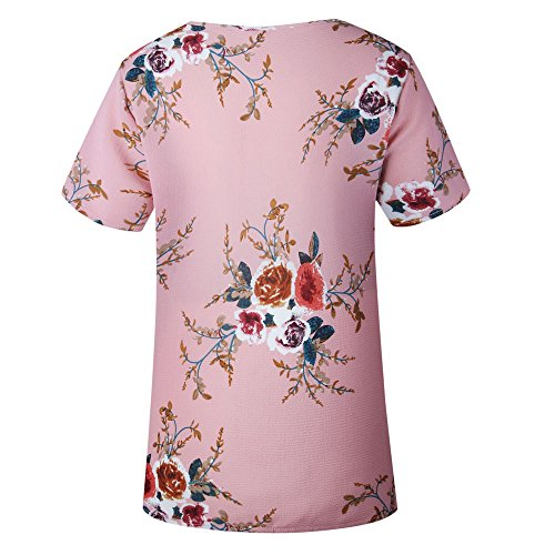 Short Sleeve Tops Sexy Ladies T Casual Printing shirt Women Pink Floral Blouse yZROw1U1q