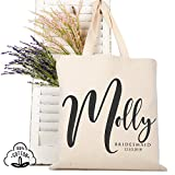 Personalized Tote Bag Natural Cotton Wedding Bridal Party | DSG#7 | set of 6