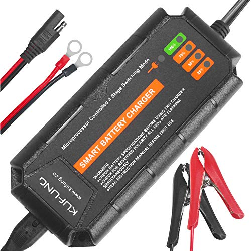 - 12V 5A Smart Battery Charger, KUFUNG Portable Battery Maintainer with Detachable Alligator/Rings/Clips Fast Charging Waterproof Trickle Charger for Car Boat Lawn Mower Marine Sealed Lead Acid Battery