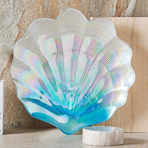 Iridescent Shell - MIYA LIFE 1Pcs Iridescent Blue Sea Shell Glass Dessert Plate in Ocean Style for Cool Summer Party Chip Fruit Salad Dishes Cake Platter