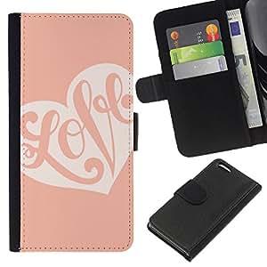 A-type (Calligraphy Valentines Heart Pink Peach) Colorida Impresión Funda Cuero Monedero Caja Bolsa Cubierta Caja Piel Card Slots Para Apple iPhone 5C