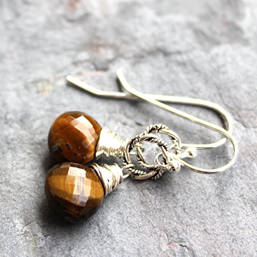 Tigers Eye Earrings Sterling Silver Twisted Rings Wire Wrapped Simple Drops ()