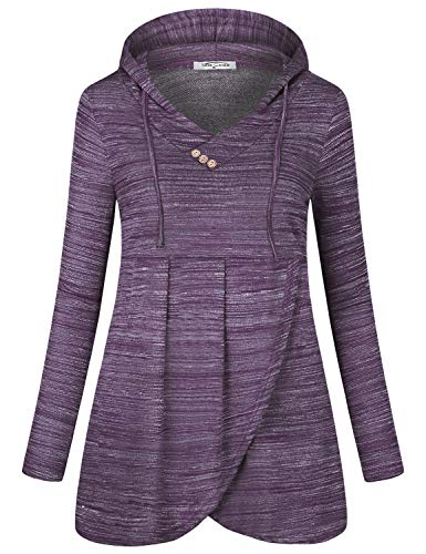 SeSe Code Drawstring Hoodie,Juniors Long Sleeve Tops Vneck Pullover Hooded Sweatshirt Empire Waist Pleated A Line Stylish Youth Contemporary Clothing Space Dye Purple Medium