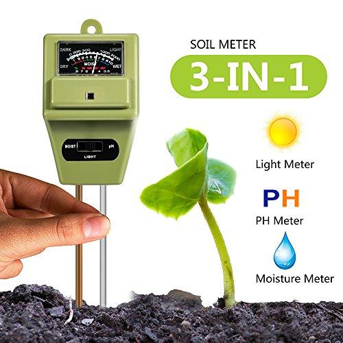 Soil PH Meter, Cogogo 3 in 1 Soli Test kit for Moisture Sensor/Sunlight/PH Test Function for Home Garden, Farm, Lawn, Indoor & Outdoor (No Battery needed)