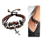 Suyi Multilayer Adjustable Leather Woven Braided Bangle Cross Bracelet Leaf Wrist Cuff Wristb