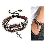Suyi Multilayer Adjustable Leather Woven Braided Bangle Cross Bracelet Leaf Wrist Cuff Wristband Ccoffee