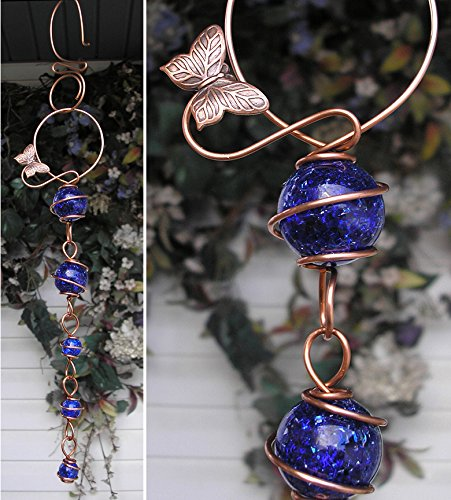 Butterfly Suncatcher Cascade - Metal Sculpture - Glass Copper Art - Yard Lawn Outdoor Pond Decor Cobalt