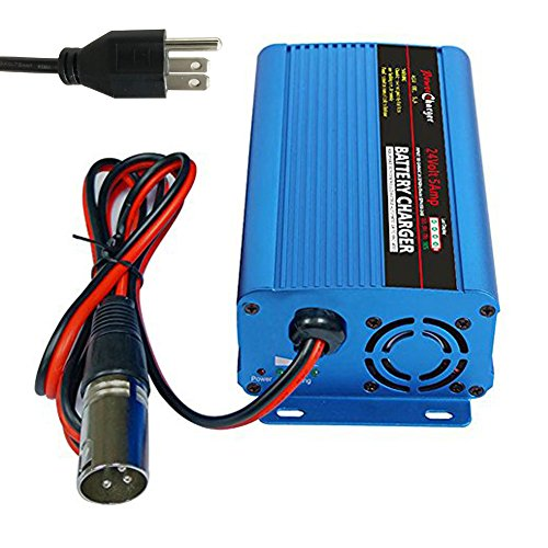 24 Volt 5A Automatic Battery Charger with XLR Connector for Car Wheelchair Motorcycle eBike Electric Tools Emergency Light Portable Electronics Devices (Car Electronic Tools)