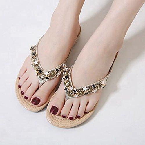 Flops Sterne Flach Damen Plattform besetzten Flip Beach Funkelnden Mode Sandalen Thong Gold Komfort Sommer 58wA6qtw