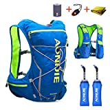 TRIWONDER Hydration Pack Backpack 10L Deluxe Running Race Hydration Vest Outdoors Mochilas for Marathon Running Cycling Hiking (Blue&Green – with 2 Soft Water Bottles (350ml), M-L)