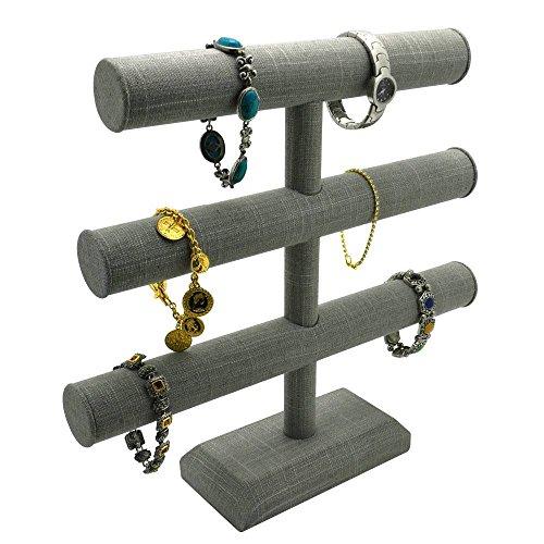 Grey Linen Jewelry Bracelet/Watch/Bangle Display Stand ~ 3 Tier Holder