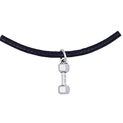 Collar de cuero, collar collares para mancuernas, barbell, pérdida de peso, joyas de motivación: Amazon.es: Joyería