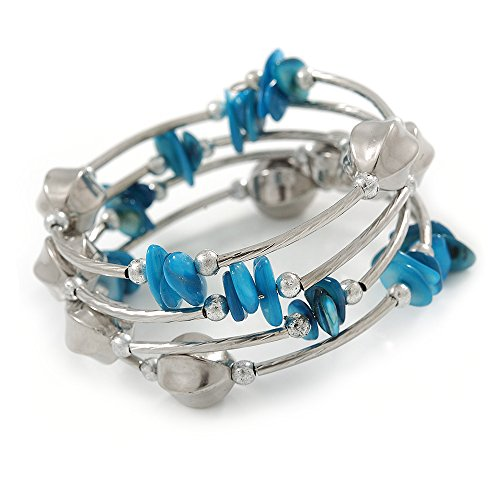 Avalaya Light Blue Shell Nugget, Silver Tone Acrylic Bead Multistrand Flex Bracelet - 17cm L