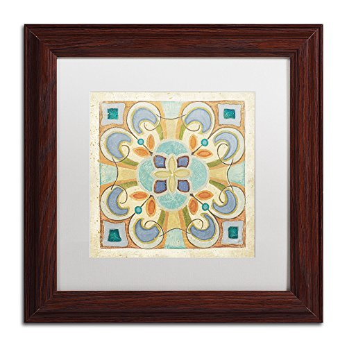 Birds Garden Tile II Framed Art by Daphne Brissonnet, 11 by 11-Inch, White Matte with Wood Frame