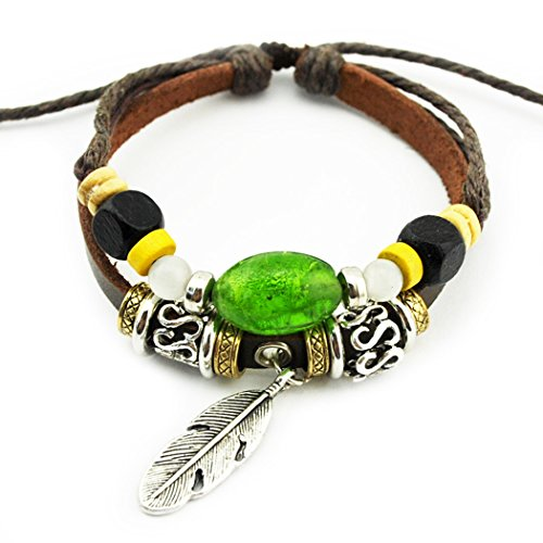 more-fun-angel-wings-pendant-green-stone-wood-beads-leather-adjusteble-braided-wrap-bracelet