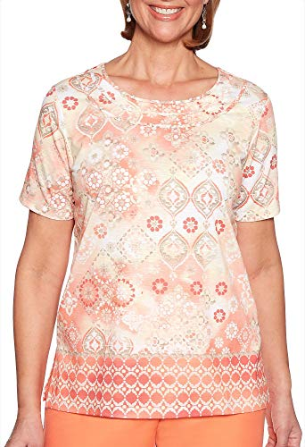 Alfred Dunner Women's Martinique Medallion Border Top (X-Large)