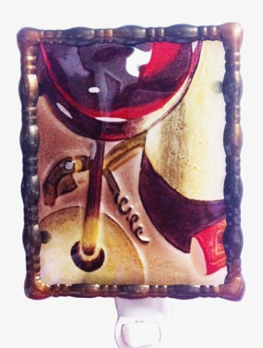 Continental Art Center NL9502 Hand Painted Glass with Night Light Wine Glass with, 5.2 by 5.6 by 1.6-Inch by Continental Art