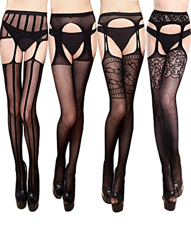 Pantyhose Suspender Style (VERO MONTE 4 Pairs Suspender Tights 4 Women Thigh Highs Stockings Fishnet(BLACK))