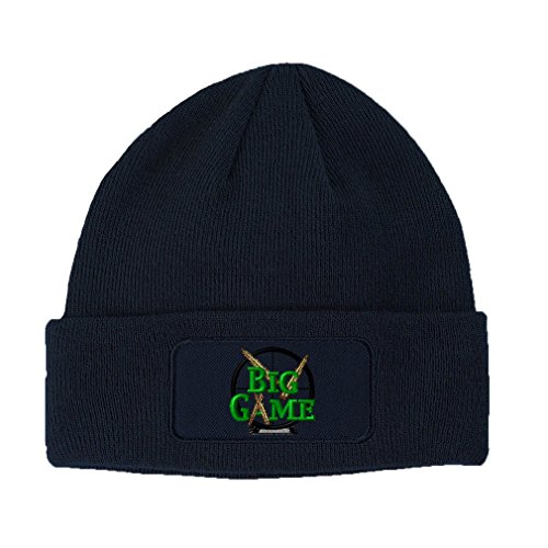 Big Game Hunting Embroidery Design Double Layer Acrylic Patch Beanie Navy