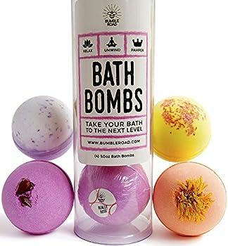 Luxury Bath Bombs (Set of 4) - Natural Bath Bombs Gifts For Women, Mom, Girls, Teens, Her, Kids - Bath Bomb Gift Set - Bath Fizzies Fizzer - Best Gift Ideas - Lush Bath Bombs - Best Cheap Bath Bombs