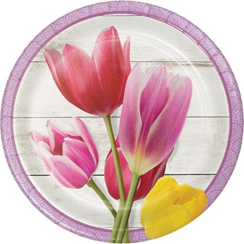 (Pack of 96 Pink and White Beautiful Blossoms Designed Luncheon Plate)