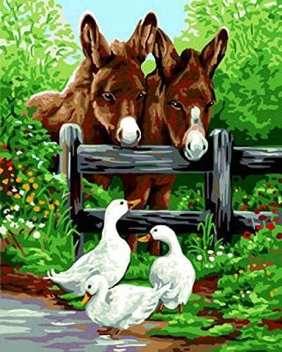 数字で描くDIY油絵キット絵の忍耐と理解は、大人と子供の両方で共有できます16x20インチ(フレームレス)児童学校#00334