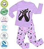 Girls Pajamas Clothes Sleepwear 100% Cotton PJS for Toddlers Children Kids Cat Style (Purple (Cat), 7)