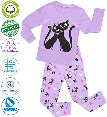 Girls Pajamas Clothes Sleepwear 100% Cotton PJS for Toddlers Children Kids Cat Style (Purple (Cat), 7) by MOGGEI