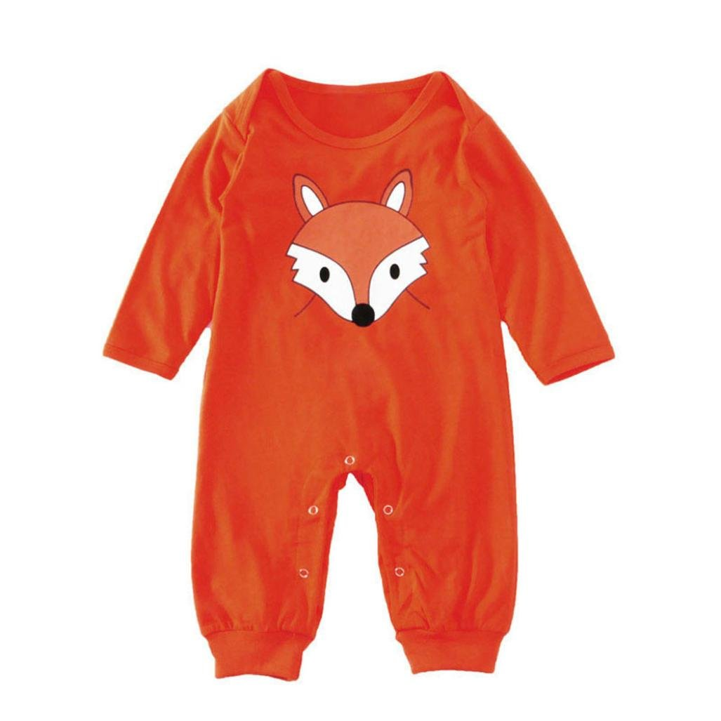 Igemy Newborn Infant Baby Boys Girls Fox Printing Long Sleeve Romper Jumpsuit Clothes Cute Casual