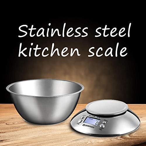 PRWJH Bilancia da Cucina, Bilancia da Cucina Elettronica Digitale LCD, con sensore di Temperatura Timer Allarme Ciotola, 5kg / 1g