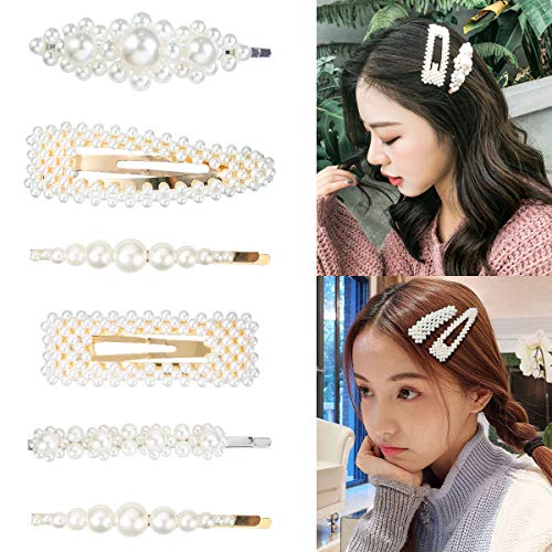 Faux Pearls Hair Barrettes for Women Girls Applies to Bun Updo Party Wedding Bridal Hair Accessories and Birthday Valentines Day Gifts (6pcs)
