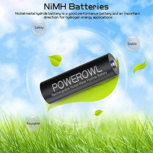 POWEROWL AA Rechargeable Batteries, 2800mAh High Capacity Batteries 1.2V NiMH Low Self Discharge, Pack of 16