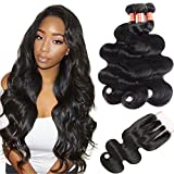 Simei Hair 8A Brazilian Virgin Hair Body Wave 3 Bundles With Closure 100% Unprocessed Human Hair Weave Bundles With Lace Closure (14 16 18+12 Three Part)