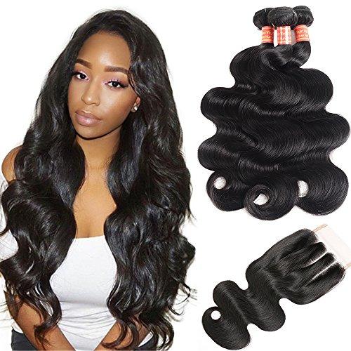 Simei Hair 8A Brazilian Virgin Hair Body Wave 3 Bundles With Closure 100% Unprocessed Human Hair Weave Bundles With Lace Closure (14 16 18+12 Three Part) by Simei