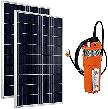 Lot de 2 100 W polycristallin Panneau solaire PV 1 24 V inoxydable Passoire submersible solaire Pompe /à eau DCHOUSE 24 Volts Syst/ème de leau dalimentation solaire