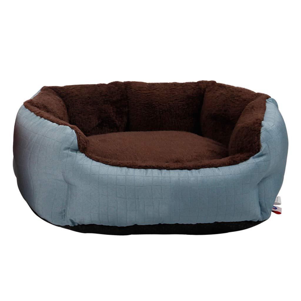 bluee M 514518cm bluee M 514518cm Kennel QIQIDEDIAN Small Dog Spring Warm Plus Velvet Removable Cat Litter Pet Nest Mat Dog Supplies Pet Bed (color   bluee, Size   M 51  45  18cm)