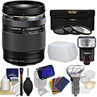Olympus M.Zuiko 14-150mm f/4.0-5.6 II ED Digital Zoom Lens with 3 UV/CPL/ND8 Filters + Flash + Diffusers Kit for OM-D & PEN Micro Four Thirds Cameras