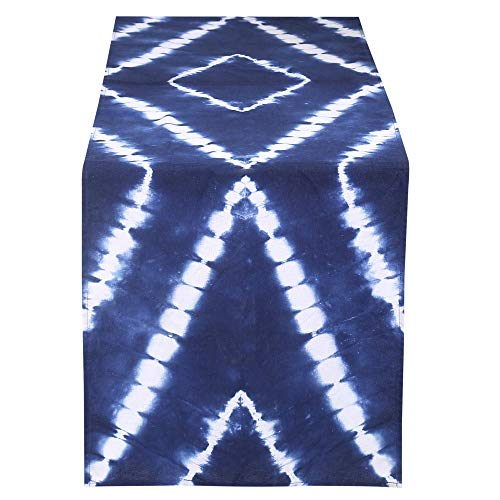 (RAJRANG BRINGING RAJASTHAN TO YOU Indigo Blue Farmhouse Table Runner - Indian Cotton Placemat Shibori Dye Party Supplies Fabric Decoration for Baby Shower Birthday Celebration 16x72 )