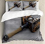 Video Game Duvet Cover Set by Ambesonne, Weapon of a Shaman Battle Fantasy Decor Fighting Battle Themed Illustration, 3 Piece Bedding Set with Pillow Shams, Queen / Full, Black Brown