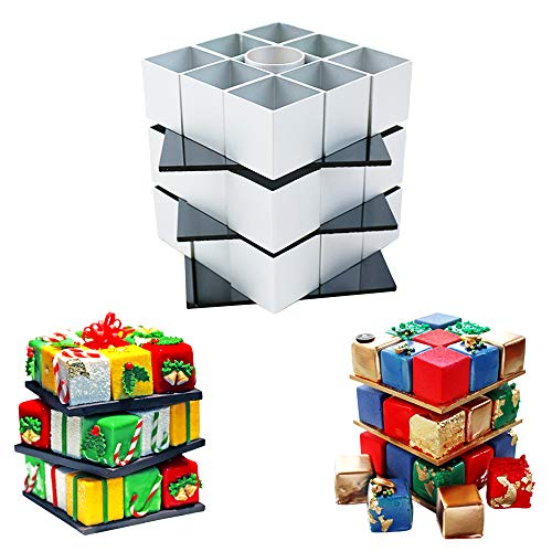 Christmas Rubik's Cube Cake Mold – Cookie Cutters Rotate Magic Cube Aluminum Alloy Molds Baking DIY Kit – 3D Chocolate Fondant Candy Hand Soap Pastry Dessert Mold for Birthday Party Supplies Festival ()