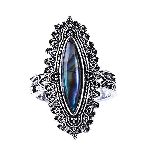 - Weiy Oval Stone Ring Antique Oval Ring Flower Cabochon Ring Vintage Style Hollow Stone Ring Bohemia Statement Ring for Women,8#