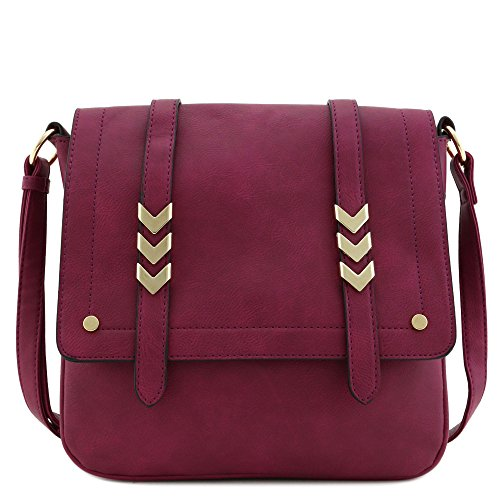 Double Compartment Large Flapover Crossbody Bag (Magenta)